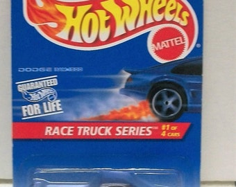 1995 Dodge Ram 1500 Truck Mattel Hot Wheels Race Team Series 1/4 Blue Collector Card #380  China - 1/64 Scale Diecast Vehicle New on Card