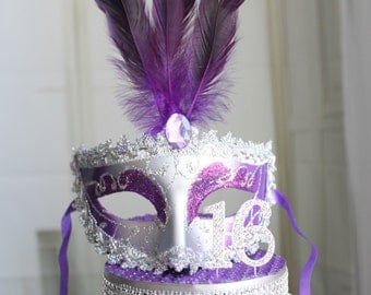 Masquerade, Mask, Rhinestone Sweet 16 Cake Topper Purple and Silver, Venetian, Carnival