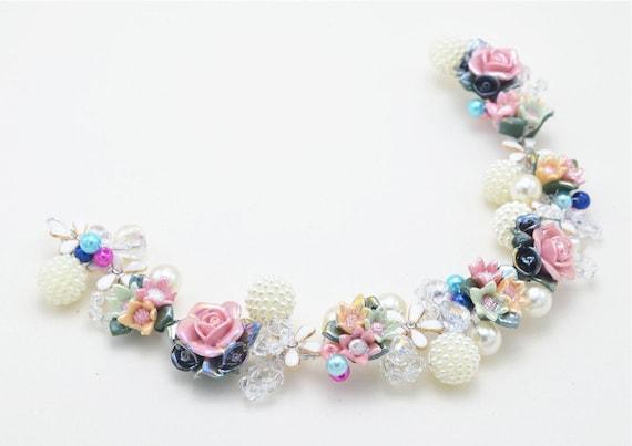 Ceramic rose pearl crystal flower garden taira headband colorful
