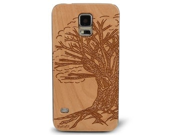 Laser Engraved Hand Drawn Tree of Life on Genuine Wood phone Case for Galaxy S5, S6 and S6Edge S-022