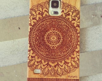 Hand Drawn Native American Aztec Mandala Doodle Pattern Laser Engraved on Genuine Wood Cell phone Case for Galaxy S5, S6 and S6Edge S-020