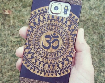 Laser Engraved Hand Drawn Native American Aztec Mandala Om symbol  Genuine Wood phone Case for Galaxy S5, S6 and S6Edge S-045