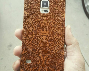 Laser Engraved Mayan Aztec Calendar on Genuine Wood phone Case for Galaxy S5, S6 and S6 Edge S-049