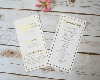 Gold Foil Border Wedding Program Handmade, Also Available in Rose Gold, Silver, Copper Foil
