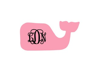 Whale Monogram Decal-Two Colors