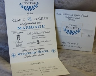 All-in-One, Seal and Send Elegant Wedding Invitation