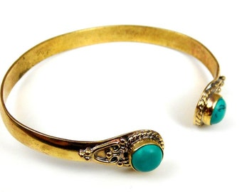 14k Yellow Gold Turquoise Bracelet Cuff
