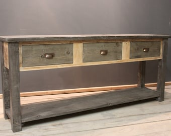 Hall Table, Occasional Table with 3 Drawers, Handmade Modern Rustic & Chunky (The Waldron)