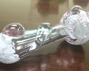 White clouded Hand Pipe* aluminati purple colors