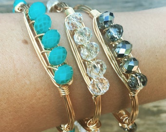 Wire Wrapped Bangle with Rondelle Crystal Beads