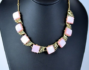 ONSALE Coro Pink Moonglow Necklace Gold tone Choker