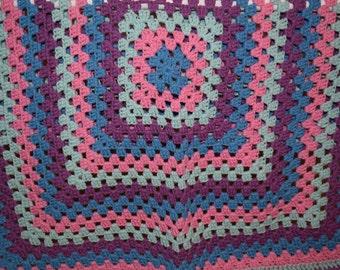 Blue Pink Aqua Purple Granny Square Crochet Blanket