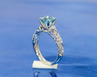 Natural  Light Blue Zircon Approximate 2.20ct  Vintage Inspired 18k White Gold Cathedral Setting Mil-Grain Engagement Ring.