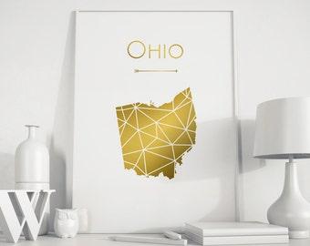 Ohio state Ohio art Gold art Gold print geometric print gold and white decor state art minimalist art home office decor map wall art