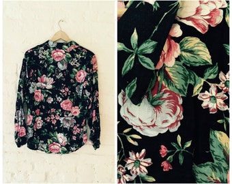Vintage Lord and Taylor Black Floral Rose Print 1980s Button Up Shirt Blouse Top - Sz. Small/Medium