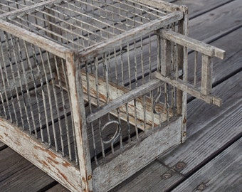 Wood and wire birdcage, antique, vintage, loft, small transport cage, for songbird