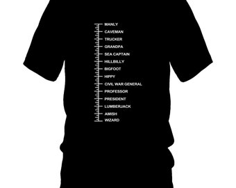Beard Length T-Shirt Measurement Chart Hipster Measuring Men Gift Beardly Dad Tee