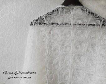 Wedding white Mohair Shawl. Hand Knit Lace Shawl. Free Shipping. Knit triangular shawl. Made To Order. Knitted Shawl