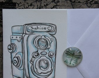 Vintage Camera graphic handpainted greeting card
