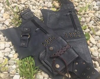 Burning Brown Black Leather Utility Belt, Festival Belt, Hippie Fanny Pack, Boho Pocket Belt, Psy Belt, Hippie Hip Bag, Psytrance Belt