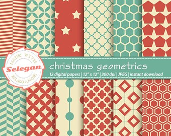 "christmas stocking ""Christmas Geometrics"" digital scrapbook paper 12x12 Printable Xmas quatrefoil geometric hexagon pattern background"