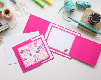 Pink Candy Birthday Trifold Card, Handmade Greeting Card