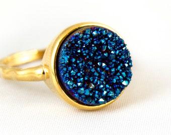 Druzy Blue Agate Ring