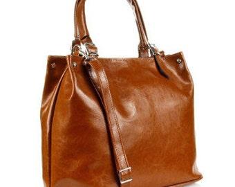 Large Light Brown Leather Handbag