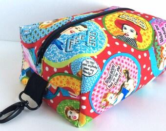 Boxy Bag, Retro Cosmetic Bag, Large Boxy Bag, Red Makeup Bag, Boxy Zipper Pouch, Dopp Kit, Toiletry Bag
