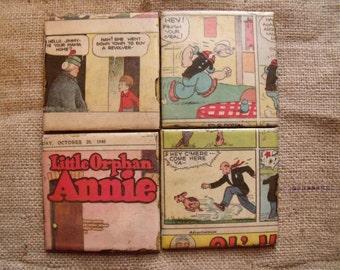 Vintage 1940's Comic Strip. Ceramic tile coasters. OOAK set. popeye. little orphan annie.