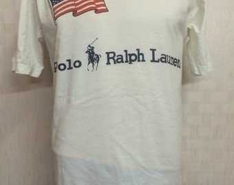 Vintage Polo Ralph Lauren Usa Flag Tshirt Medium