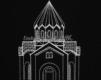 Machine embroidery design Church Architecture Monochrome Design  INSTANT DOWNLOAD