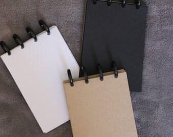 A6 Discbound Notepad - Kraft, White or Black Paper