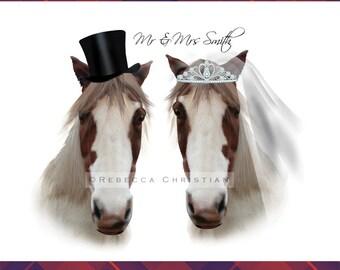Mr & Mrs horse Print - Wedding Gift, wedding gift ideas, funny wedding gift, wedding gifts personalized, wedding present, horse gift