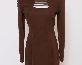 Vtg 80s Cutout Brown Bodycon Tight Club Dress M