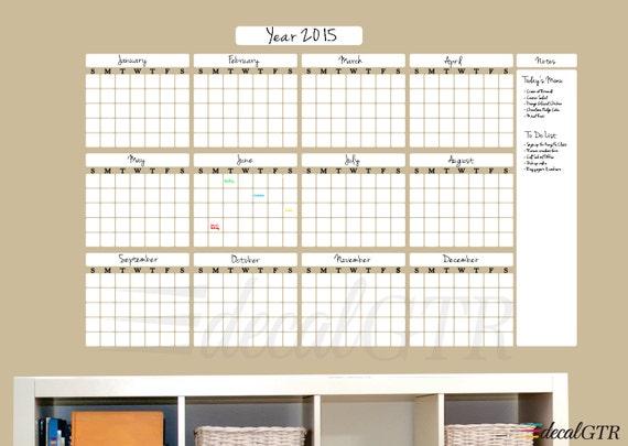 Year Calendar Whiteboard : Sale dry erase year calendar decal month