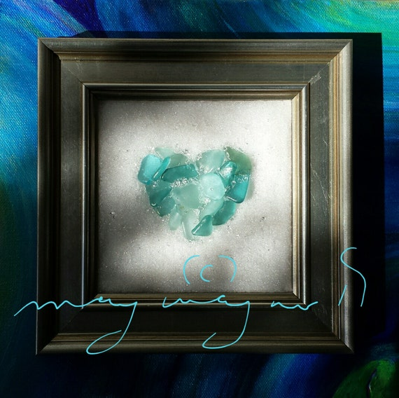 Wall Art Glass Framed : Whole heart sea glass art fine wall