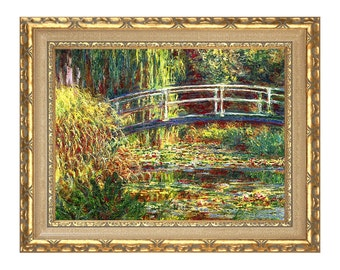 Claude Monet Water Lilies Pink Harmony Painting Reproduction Framed Canvas Wall Art Print - Clearance Sale - M00004