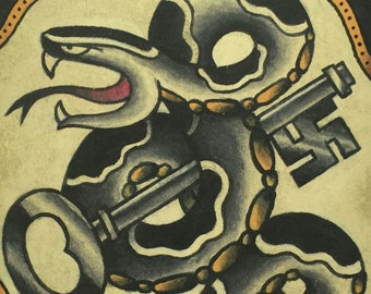 Swastika Key and Snake - Black and Gold