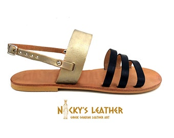 LEATHER SANDALS Strappy Sandals from 100% Full Grain Leather in Black - Platinum Gold