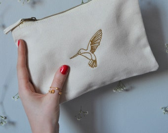 Golden Hummingbird embroidered Natural make-up,clutch bag