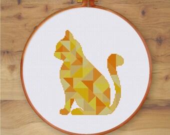 Geometric Cat cross stitch pattern| Modern triangle mosaic animal counted chart| Nursery cute baby silhouette desgin| Instant download pdf
