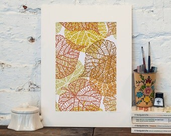 Leaf Vein Art cross stitch pattern| Modern autumn golden leaf skeleton counted chart| Minimalist nature diy wall decor| Instant download pdf