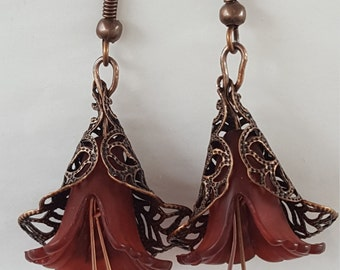 Copper and rust floral earrings
