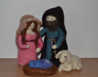 Needle Felted Nativity Set - Marie,Joseph and Jesus