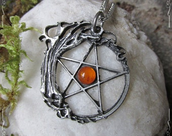 The witches tree of life, pentacle and tree of life pendant, pentagram pendant, labradorite, rainbow moonstone, amethyst or malachite