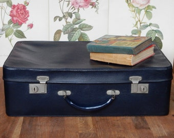 Vintage Antler Suitcase,Blue,  lovely to use for storage. Retro, shabby chic, vintage luggage