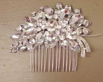 Silver tone LEAF Flower Design Diamante Hair Piece Side Comd Crystal Vintage Style Headwear