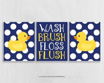 Rubber Ducky Bathroom Art Prints Set of 3 - Rubber Duck Bathroom Decor - Kids Bathroom Art - Navy and Yellow Bathroom Decor
