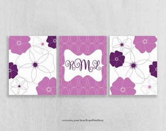 CANVAS Purple Nursery Decor Set of 3 - Purple Nursery Wall Art - Monogram Wall Art - Bathroom Wall Art - Art for Girls - Dorm Room Art